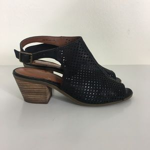 Lucky Brand Black Leather Perforated Sandals